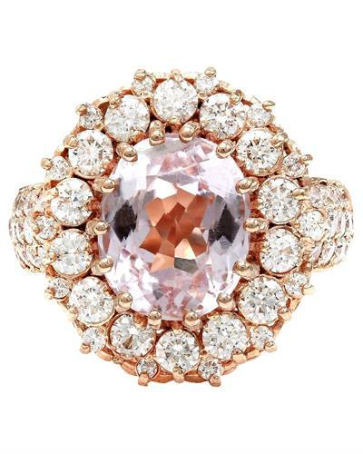 5.86 Carat Natural Kunzite 14K Solid Rose Gold Diamond Ring