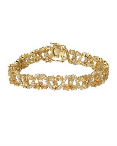 Brand New Bracelet with 10ctw of Precious Stones - citrine and cubic zirconia 10K/925 Yellow Gold plated Silver