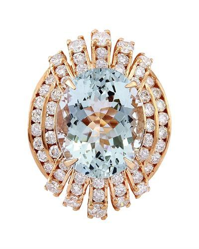 10.51 Carat Natural Aquamarine 14K Solid Rose Gold Diamond Ring