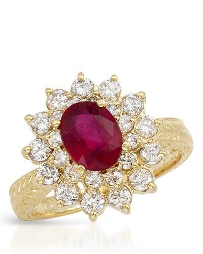 Brand New Ring with 3.03ctw of Precious Stones - diamond and ruby 14K Yellow gold