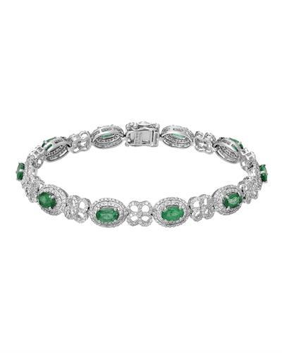 Michael Christoff Brand New Bracelet with 7.73ctw of Precious Stones - diamond and emerald 18K White gold