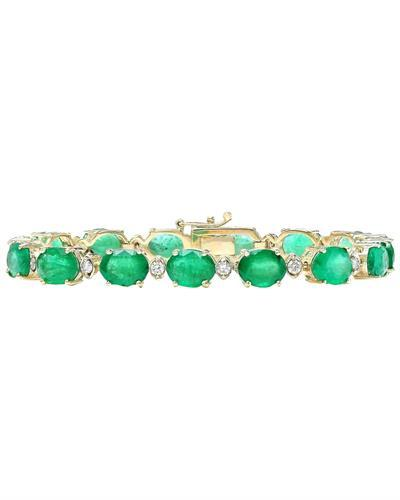 27.98 Carat Naetural Emerald 14K Solid Yellow Gold Diamond Bracelet