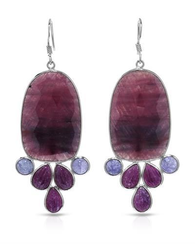 Brand New Earring with 75.26ctw of Precious Stones - ruby, sapphire, and tanzanite 925 Silver sterling silver