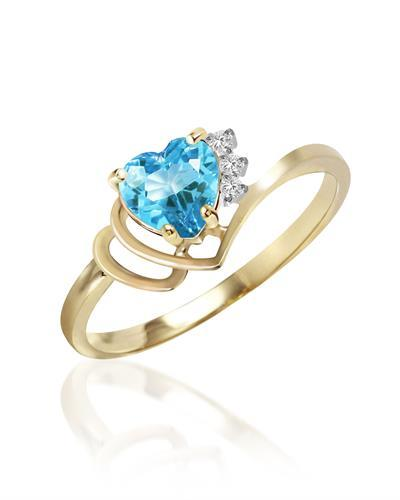 Magnolia Brand New Ring with 0.99ctw of Precious Stones - diamond and topaz 14K Yellow gold
