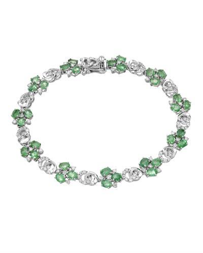 Michael Christoff Brand New Bracelet with 6.51ctw of Precious Stones - diamond and emerald 14K White gold