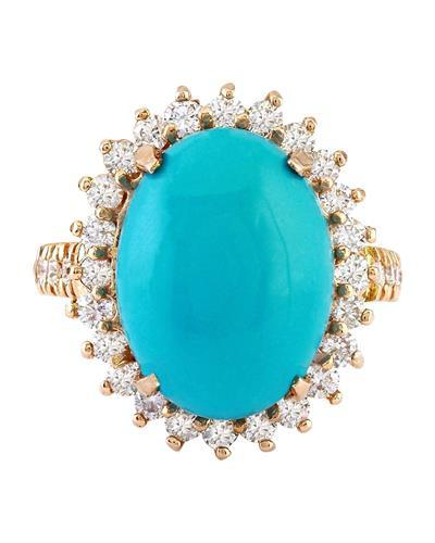 Brand New Ring with 9.95ctw of Precious Stones - diamond and turquoise 14K Rose gold