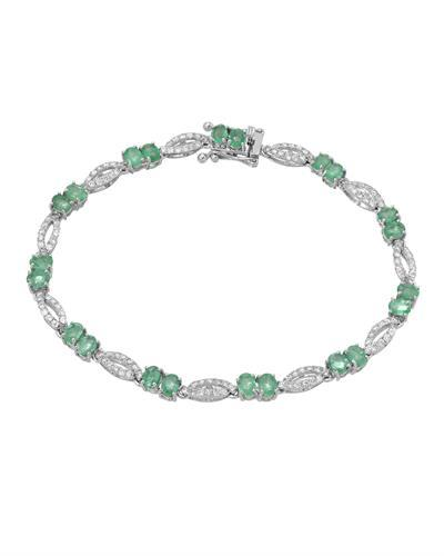 Michael Christoff Brand New Bracelet with 4.43ctw of Precious Stones - diamond and emerald 14K White gold