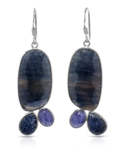 Brand New Earring with 48.12ctw of Precious Stones - sapphire and tanzanite 925 Silver sterling silver
