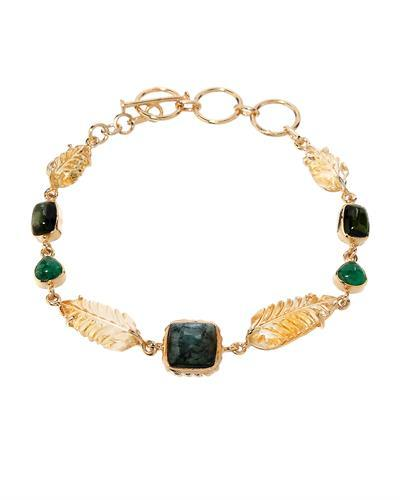Brand New Bracelet with 27.6ctw of Precious Stones - citrine, emerald, and tourmaline 10K/925 Yellow Gold plated Silver