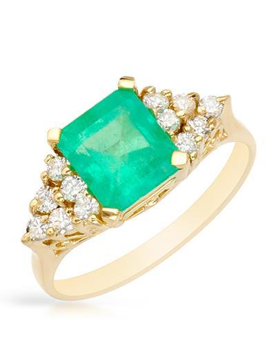 Brand New Ring with 2.2ctw of Precious Stones - diamond and emerald 14K Yellow gold