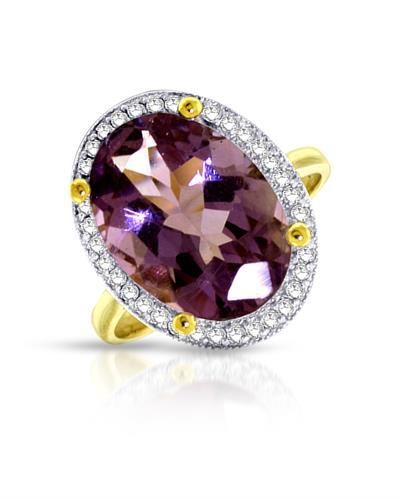 Magnolia Brand New Ring with 5.28ctw of Precious Stones - amethyst and diamond 14K Yellow gold
