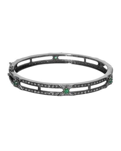 Brand New Bracelet with 3ctw of Precious Stones - diamond and emerald 925 Black sterling silver