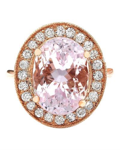 10.57 Carat Natural Kunzite 14K Solid Rose Gold Diamond Ring