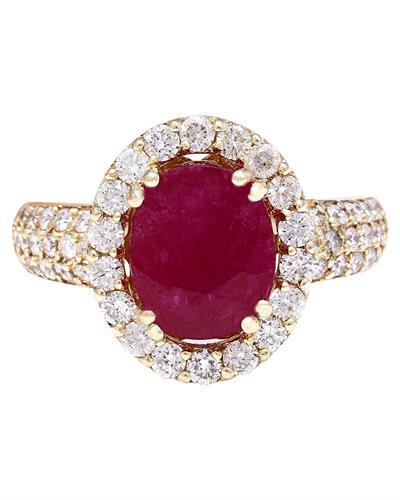 3.98 Carat Natural Ruby 14K Solid Yellow Gold Diamond Ring