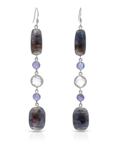 Brand New Earring with 58.01ctw of Precious Stones - quartz, sapphire, and tanzanite 925 Silver sterling silver