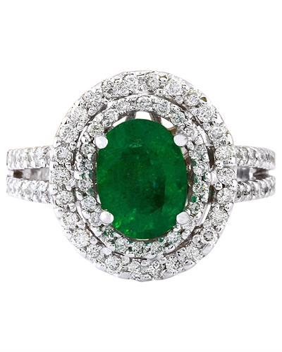 1.73 Carat Natural Emerald 14K Solid White Gold Diamond Ring