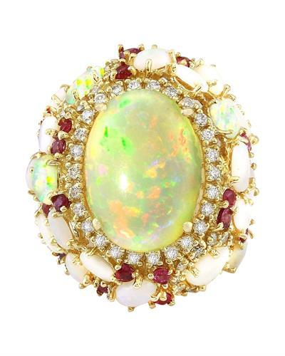 17.17 Carat Natural Opal, Ruby 14K Solid Yellow Gold Diamond Ring
