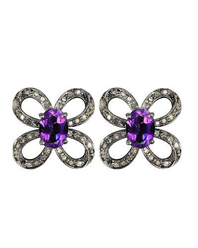 Brand New Earring with 1.71ctw of Precious Stones - amethyst and diamond 925 Two tone sterling silver