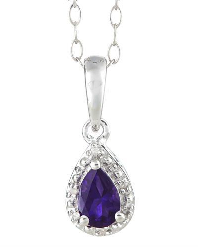 Brand New Necklace with 0.36ctw of Precious Stones - amethyst and diamond 925 Silver sterling silver