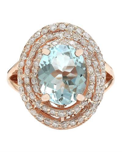 4.27 Carat Natural Aquamarine 14K Solid Rose Gold Diamond Ring