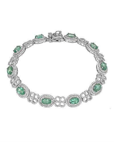 Michael Christoff Brand New Bracelet with 7.25ctw of Precious Stones - diamond and emerald 14K White gold