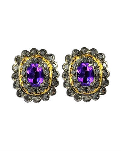 Brand New Earring with 2.19ctw of Precious Stones - amethyst and diamond 14K/925 Two tone Gold plated Silver
