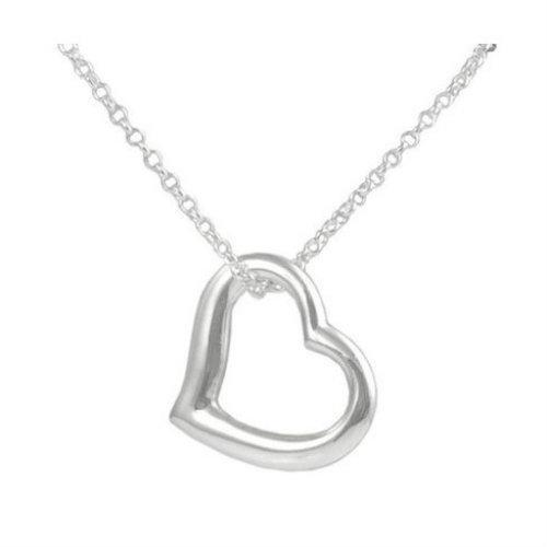 Bedazzled Bijou Brand New Heart Pendant Necklace in 925 Sterling Silver