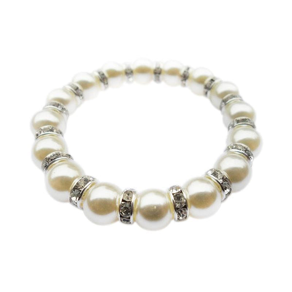 Bedazzled Bijou Brand New Adjustable Bracelet with Faux Pearls and Cubic Zirconia in 18K White Gold Plated Silver