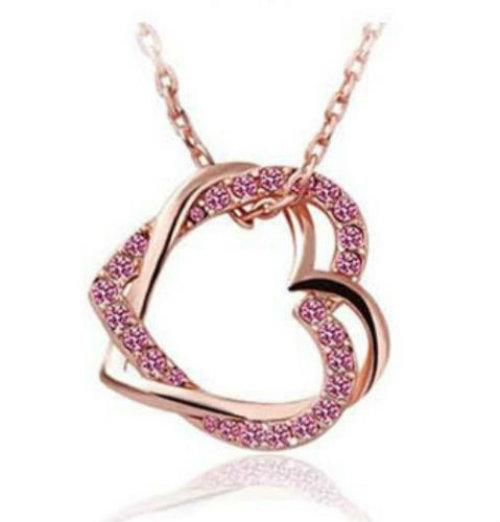 Bedazzled Bijou Brand New Heart Necklace with Cubic Zirconia and Simulated Diamond Trim in 18K Gold Plated Silver