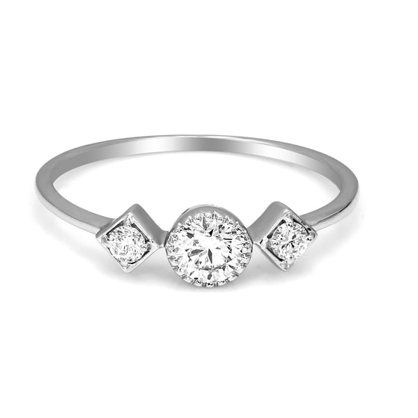 FD Brand New Ring with 0.38ctw Genuine Diamonds in 10K White Gold