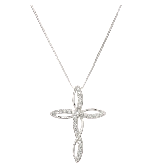 Bedazzled Bijou Brand New Love Cross Necklace with Cubic Zirconia in 925 Sterling Silver