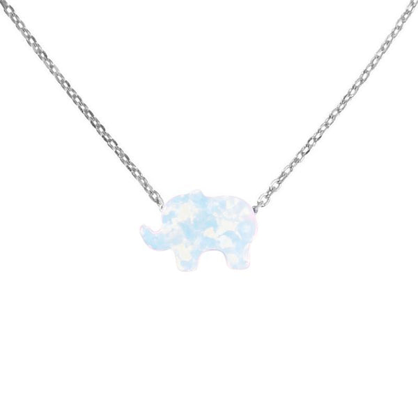 Bedazzled Bijou Brand New Elephant Necklace with Opal in 925 Sterling Silver