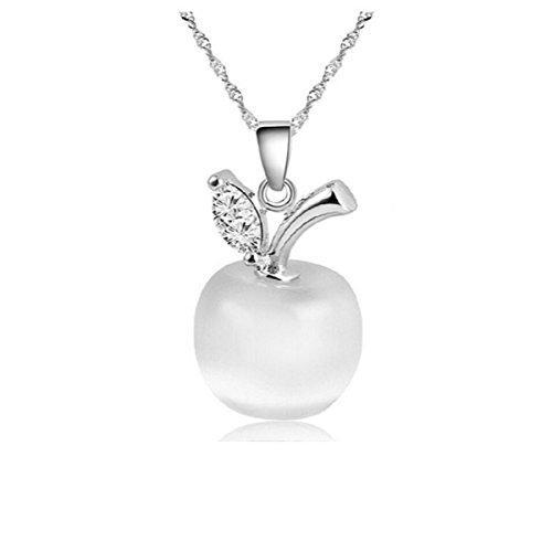 Bedazzled Bijou Brand New Apple Pendant Necklace with Cubic Zirconia and White Opal in 925 Sterling Silver