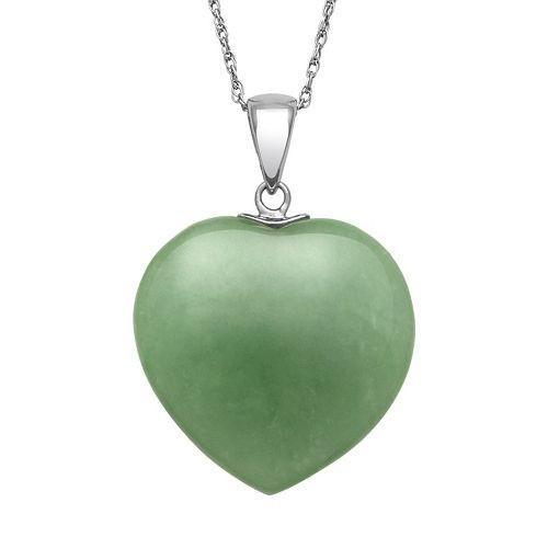 Bedazzled Bijou Brand New Heart Pendant Necklace with Jade in 925 Sterling Silver