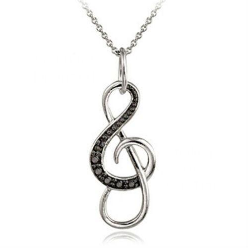 Bedazzled Bijou Brand New 1ctw Note Necklace with Black Diamonds and Cubic Zirconia in 925 Sterling Silver