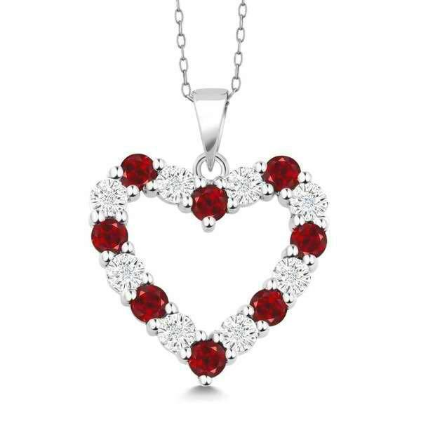 Bedazzled Bijou Brand New Heart Necklace with Ruby and Cubic Zirconia in 925 Sterling Silver