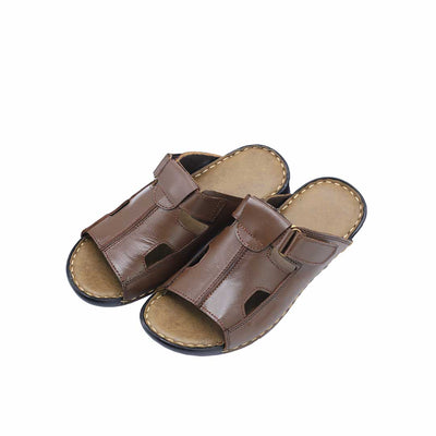 Brown Strap Slippers-R4 - Vamp Welt