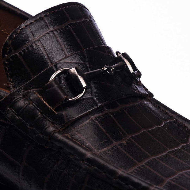 CROCODYLINAE BUCKLE- VampWelt Chocolate Brown Crocodile Texture Driving Loafers (2)-VW-187
