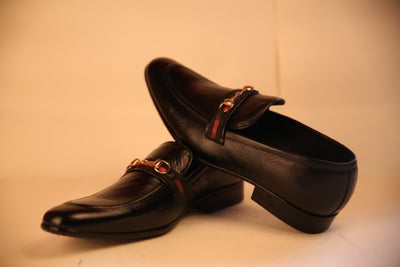 Vampwelt Black Horse Bit Loafers For Men - Vamp Welt
