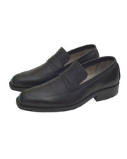 Vampwelt Black Plain Leather Shoes For Men