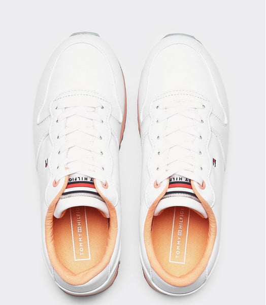 sneakersy damskie Tommy Hilfiger FW0FW04702 YBS Piped Flatform white