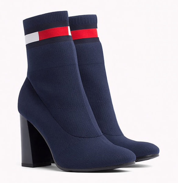 botki damskie Tommy Hilfiger EN0EN00277 406 sock Heeled Boot midnight