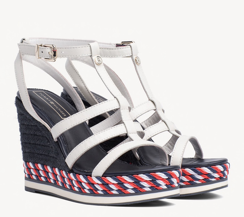 Tommy Hilfiger FW0FW03821 121 Colorful Rope Wedge Sandal whisper white