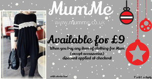 Black Tunic Festive Offer.  Buy any clothing for Mum and get Black breastfeeding tunic for £9.  Discount applied at checkout