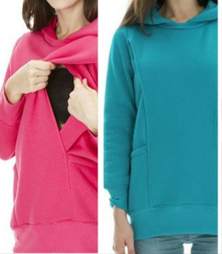 Stylish Maternity Nursing Breastfeeding Hoodie Teal or Hot Pink