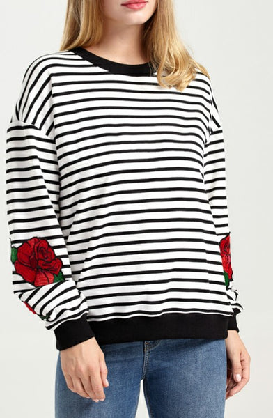 Striped Long Sleeved Rose Detail Breastfeeding Sweater