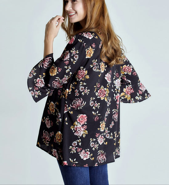 Black Floral Chiffon Maternity Breastfeeding Blouse