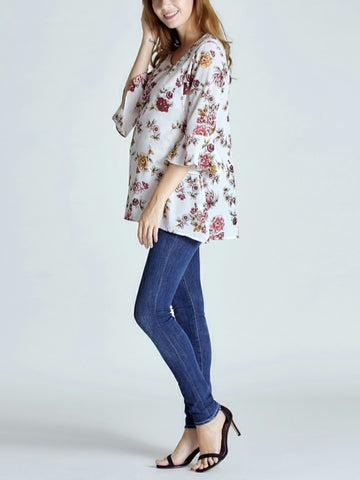 Blue Floral Chiffon Maternity Breastfeeding Blouse