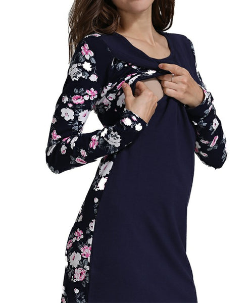 Floral Breastfeeding Sweater Bodycon Dress