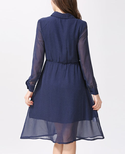 Long Sleeved Button Through Polka Dot Chiffon Nursing Shirt Dress